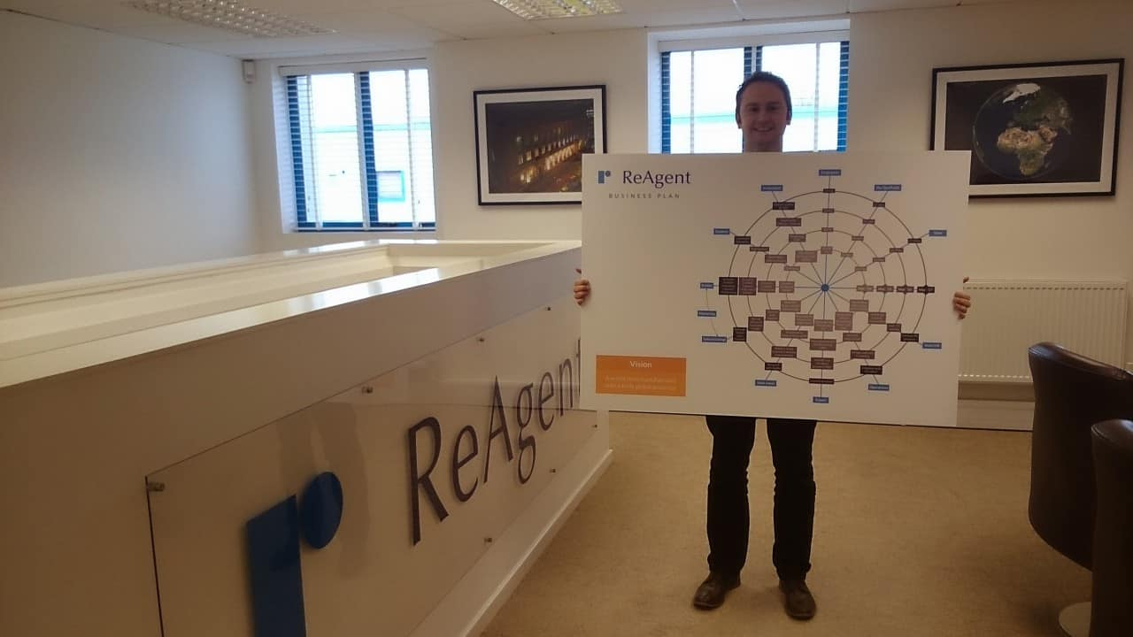 Managing Director of ReAgent, Richard Hudson, proudly displaying the business plan