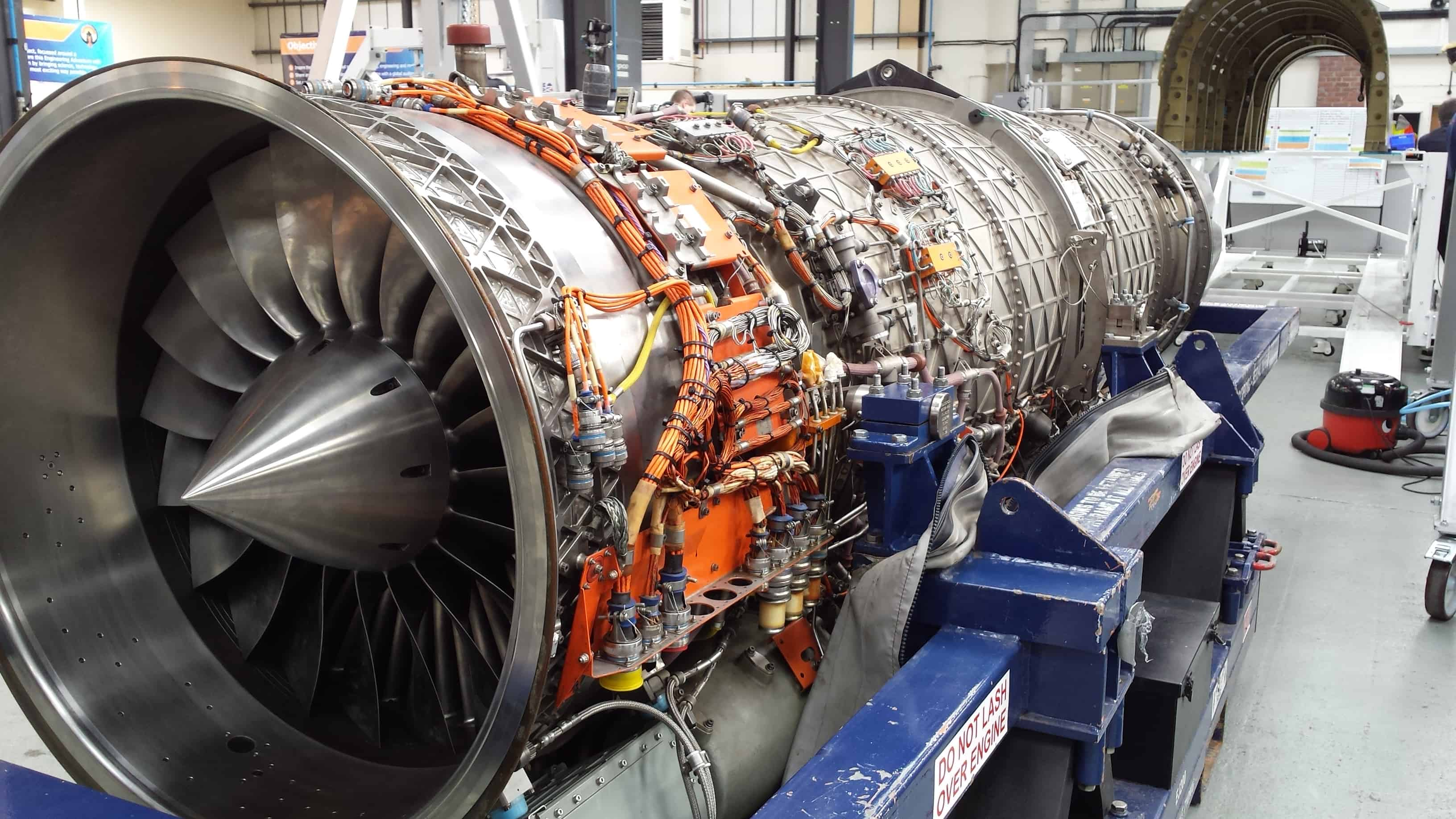 The engine of the BLOODHOUND Project's SuperSonic car being constructed