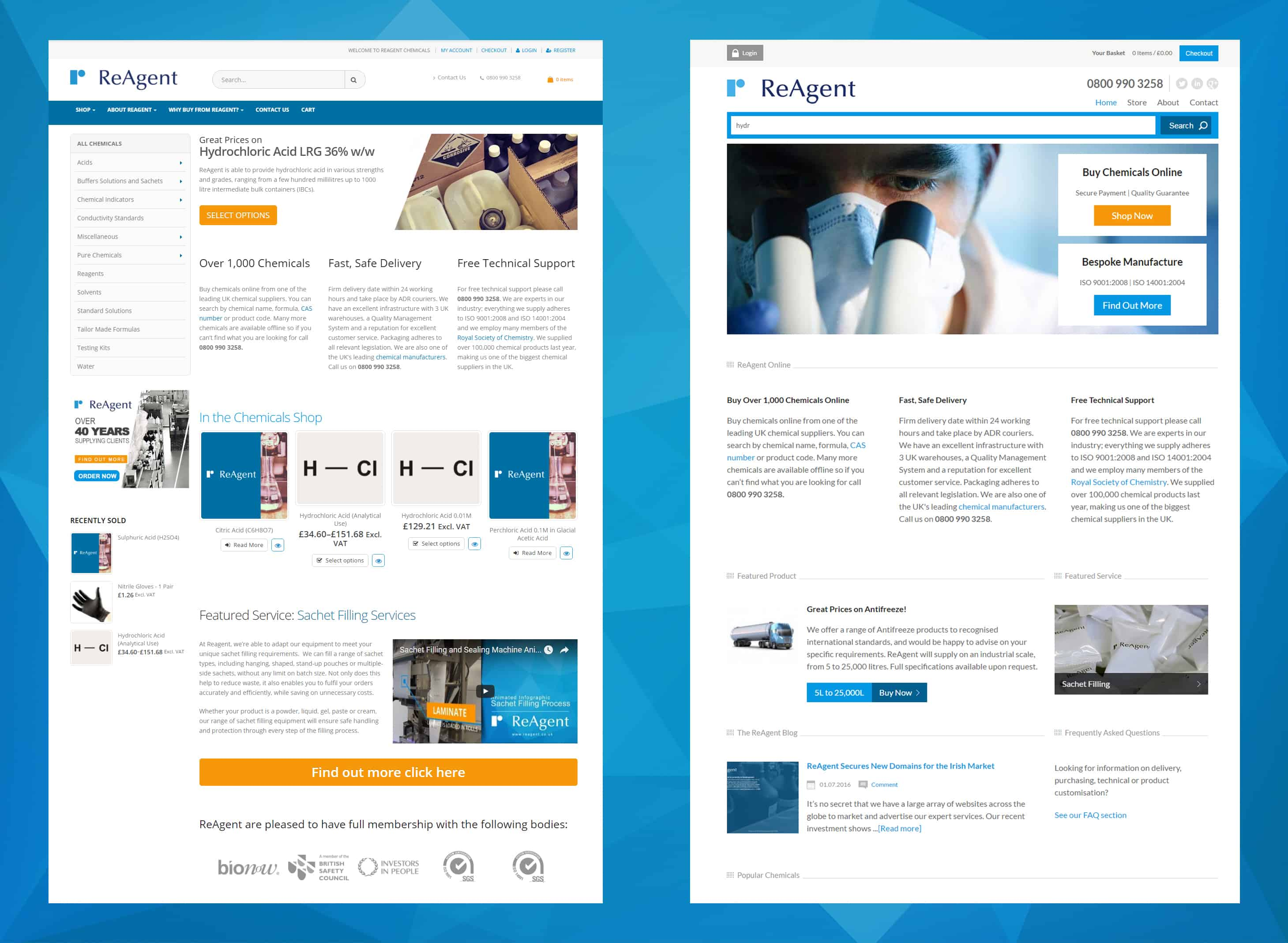 ReAgent rebuilds Chemicals.co.uk. New website (Left) in Comparison to the Old Development (Right)