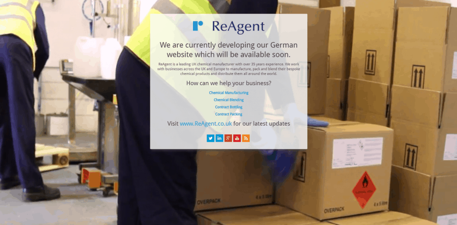 Current Holding Page used on ReAgent.de | ReAgent Chemicals