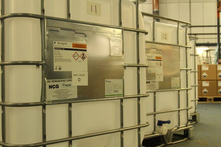 An example of how ReAgent uses metal containers to protect IBCs