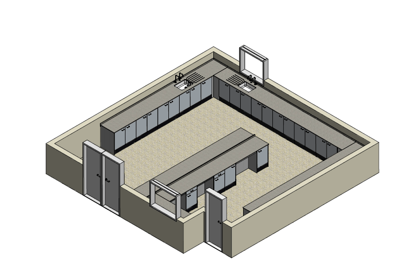 A 3D plan of a factory laboratory layout