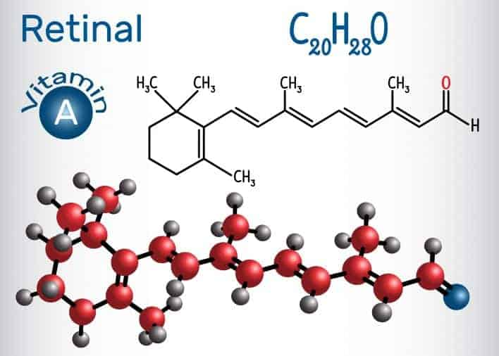 Structural chemical formula and molecule model of retinaldehyde