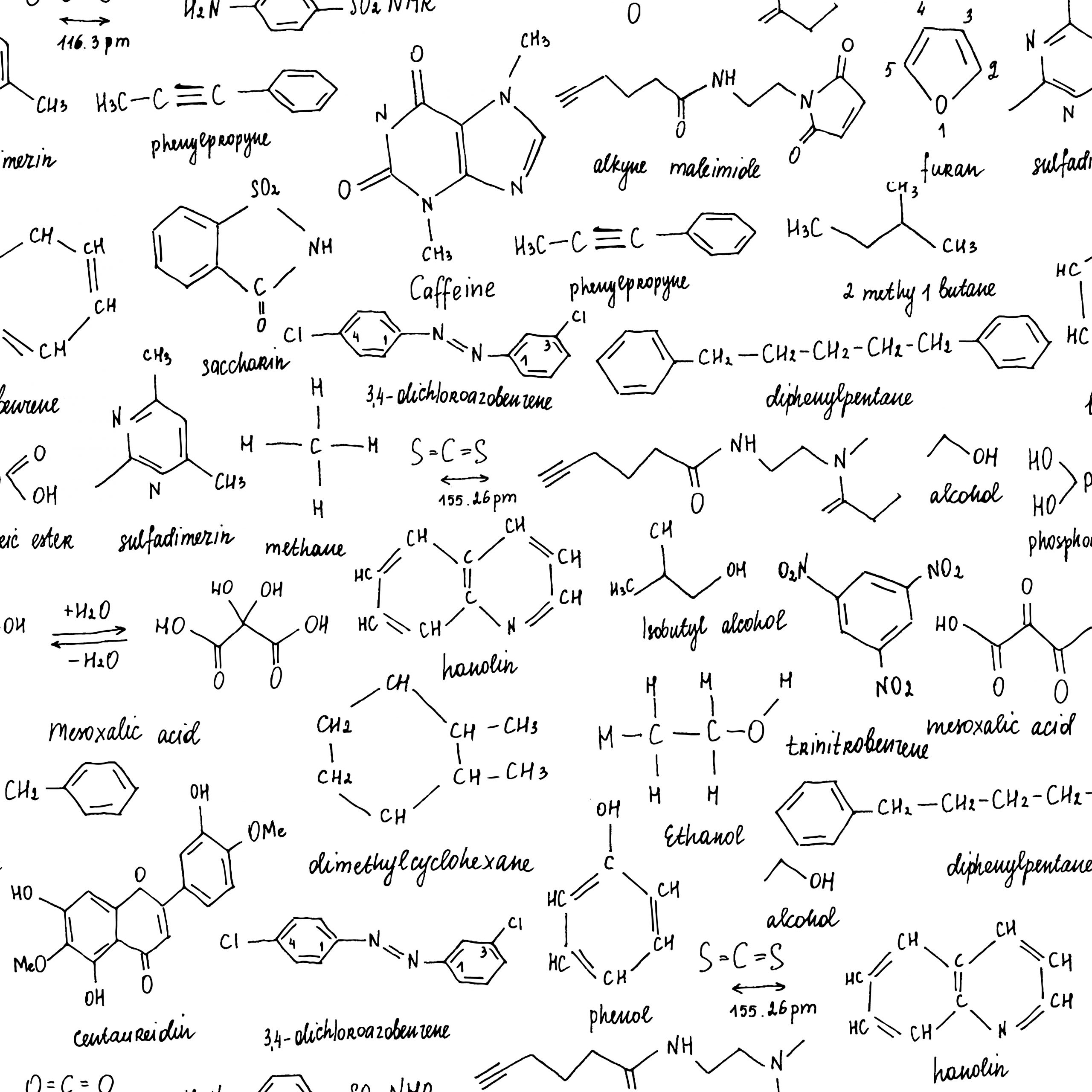 Various organic compound molecules written on white paper