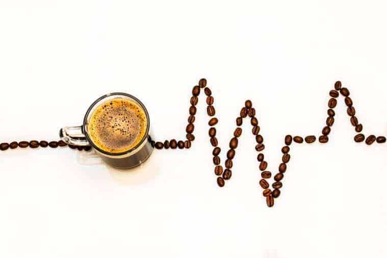 Coffee bean heart rate concept