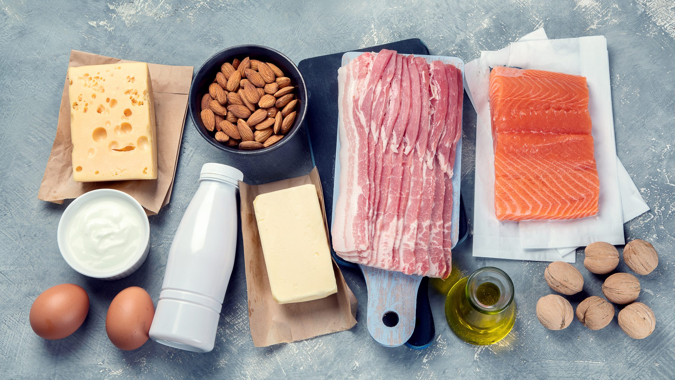 A variety of foods rich in macronutrients