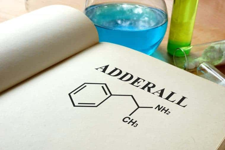 Book with adderall molecular structure typed on it